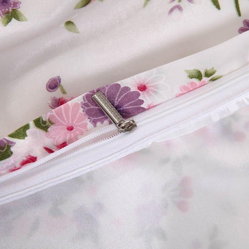 Satén de seda edredón cubre colchas Twin full Queen King Size dormitorio decoración rosa flor púrpura niñas inicio - 5