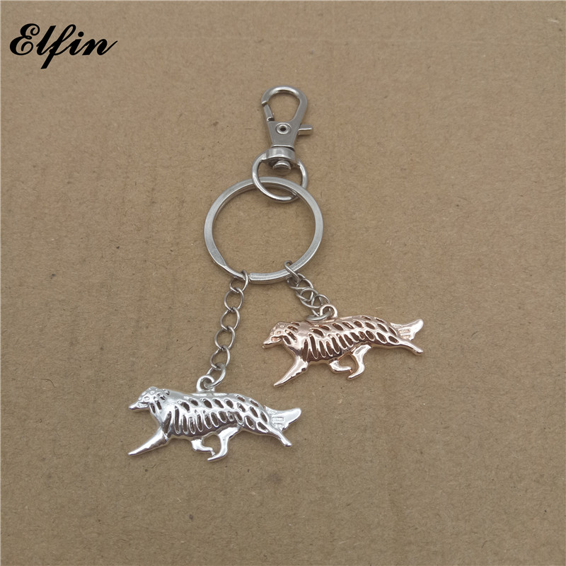 Elfin Wholesale 2017 Trendy Border Collie Key Chains Gold Color Silver Color Animal Pet Memorial Jewellery Dog Key Rings