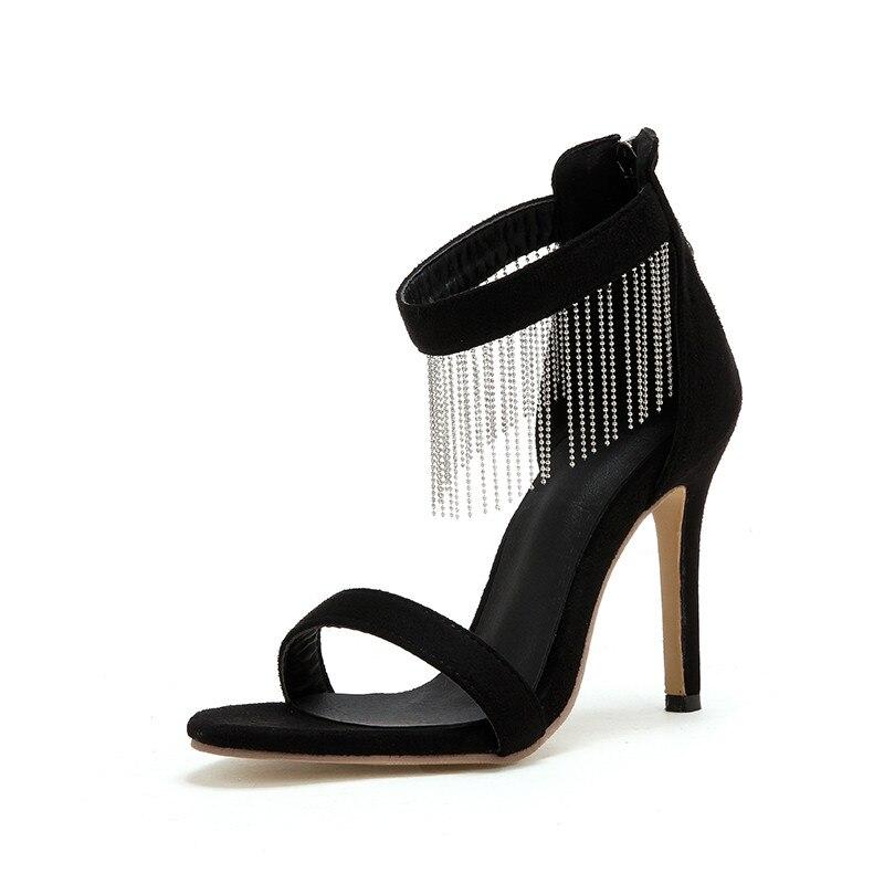 alte frange Wedding con Flock Prom donna Summer Nuove per Sandali Tacchi Estate donna Zip scarpe alti Elegante nero 2019 Asumer Classic w7SPxq7O
