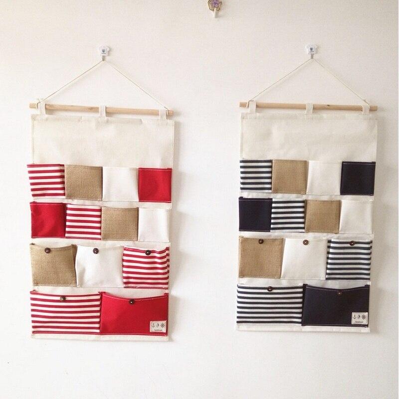 Katoenen linnen Hangende muurorganizer Deur hangende zakken Badkamer - Home opslag en organisatie - Foto 3