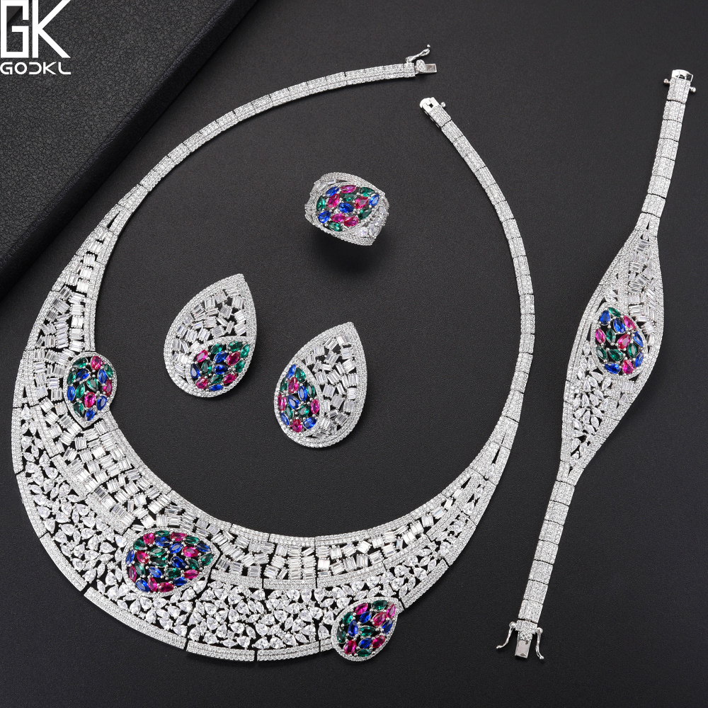 GODKI Luxury Multicolor 4PCS African Jewelry Sets For Women Wedding Cubic Zircon Crystal CZ Engagement DUBAI Bridal Jewelry Sets luxury brand 100% real 925 sterling silver jewelry sets luxury cz diamant wedding engagement bridal sets for women african ys052