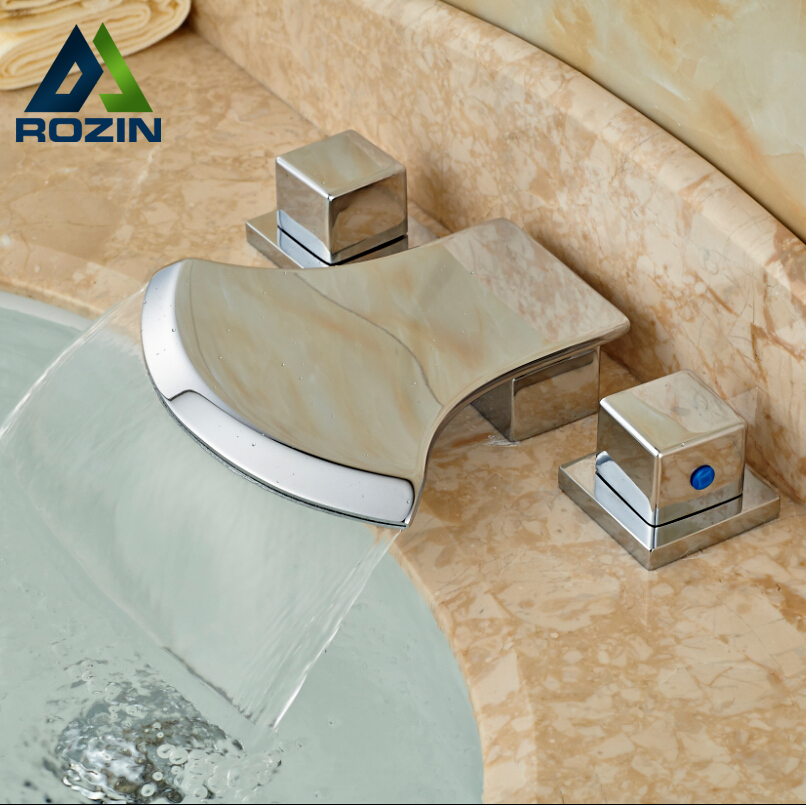 ФОТО Luxury Waterfall Double Handles Basin Sink Mix Tap Chrome Bathroom Mixers Faucet Deck Mount 3 Holes