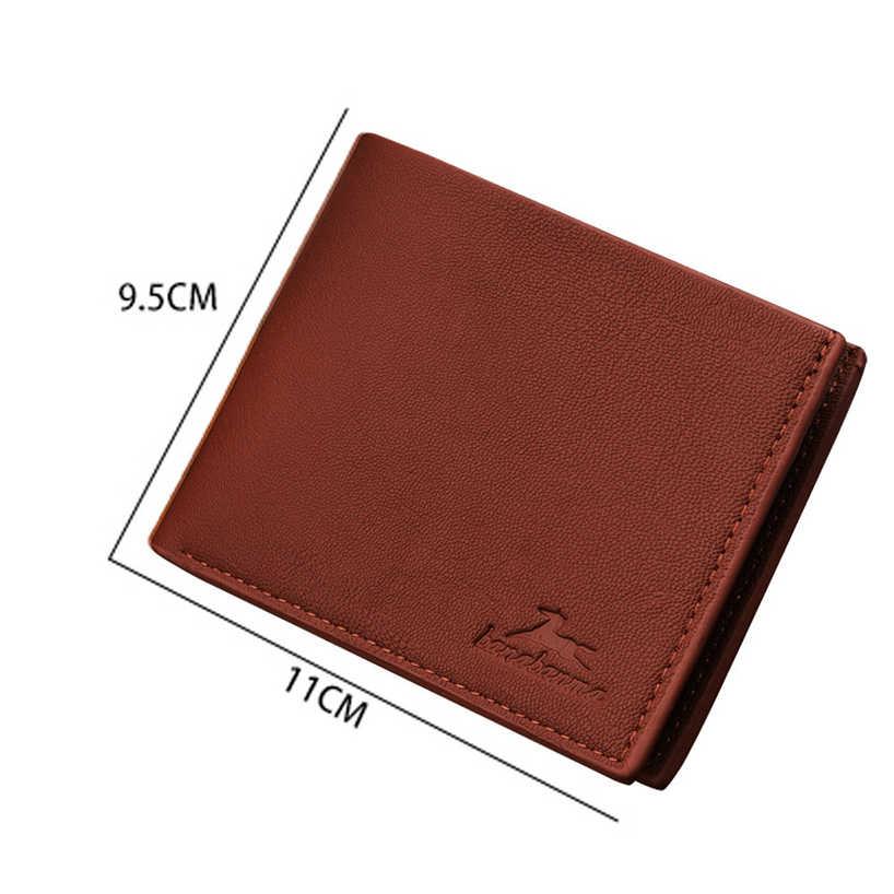 Aelicy Men VINTAGE Lichee รูปแบบหนังกระเป๋าสตางค์สั้น Bifold บัตรเครดิตผู้ถือ Purse0