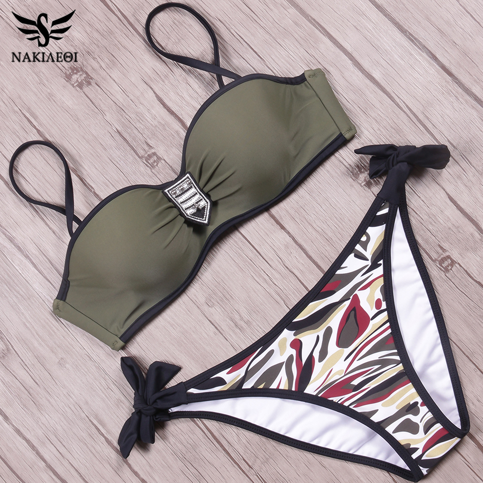 NAKIAEOI Push Up Swimwear Bikini Women Swimsuit Female Summer Sexy Bandeau Bikini 2018 Printed Halter Beach Bathing Suit Biquini 3