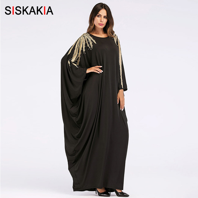 Siskakia Oversized bat sleeve Abaya Muslim women Ramadan clothing Fashion Beading Applique metal color design Dubai Arab clothes