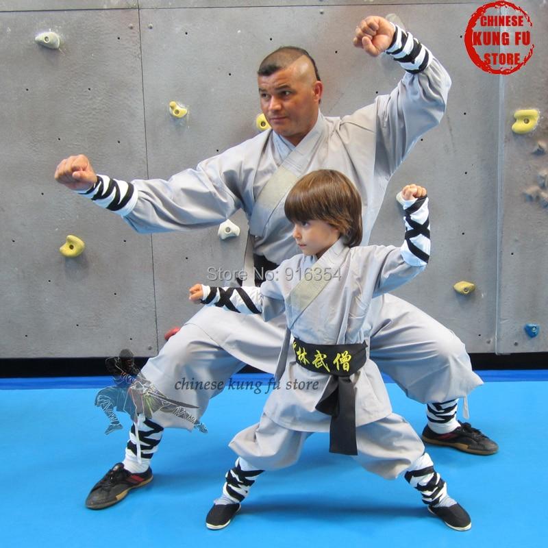 Popular Gray Cotton Shaolin Uniform Wushu Martial Arts Suit Buddhist Monk Kung Fu Robe Kids Adults Costumes