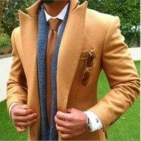Fall Winter Brown Tweed Mens Jacket And Coat Slim Wedding Suits For Men Formal Tuxedo Suit Men Custom Only Jacket Causal Blazer