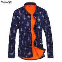 Autumn Winter Warm Men Casual Shirts Fashion Long Sleeve Brand Printed Button Up Polka Dot Floral