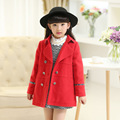 2016 Autumn Winter Kids Girls Clothing Fashion Girl Wool Coats Jackets Double Button Elegant Princess Jacket Children Outerwear