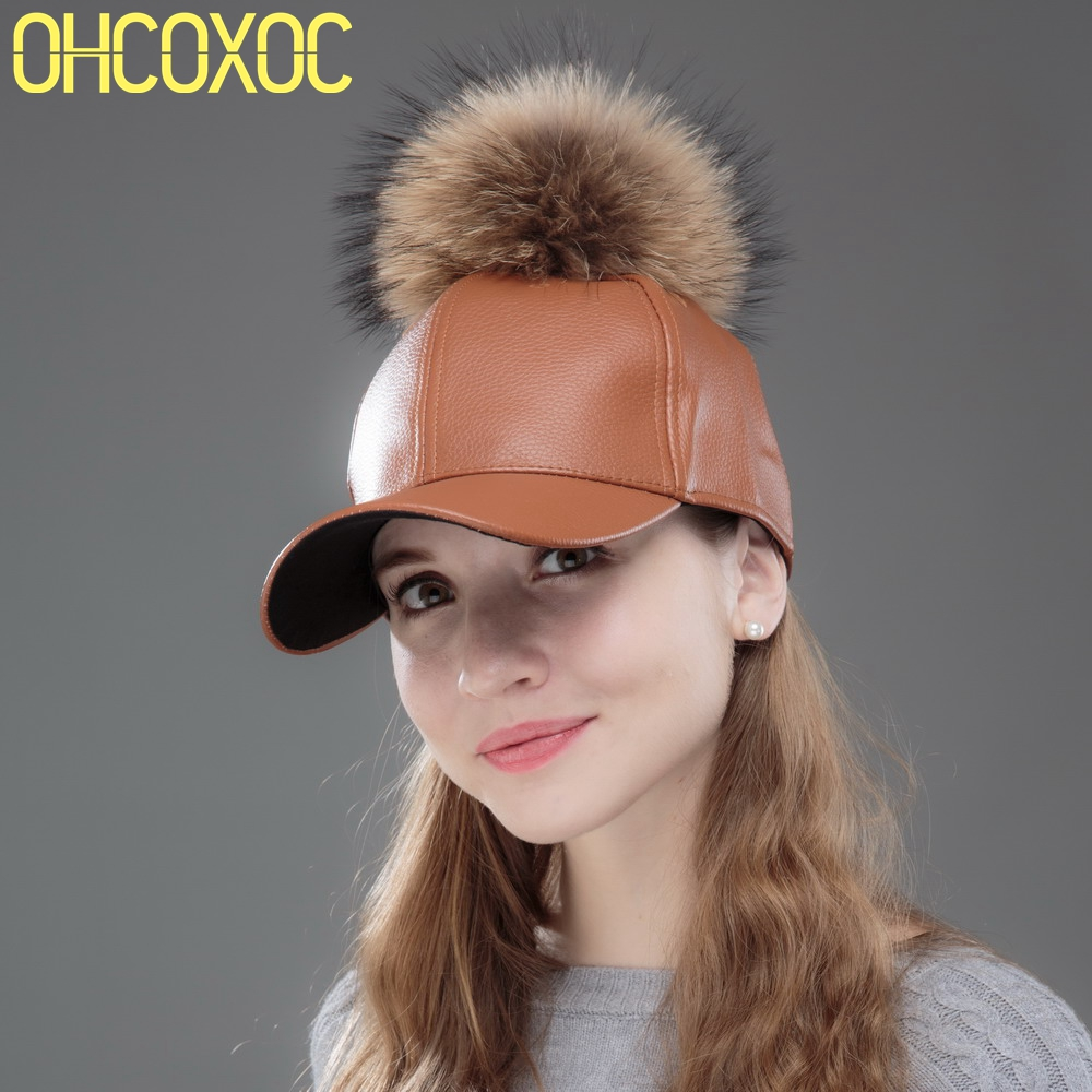 OHCOXOC women fashion winter   baseball     cap   with mink fur pompom Snakeskin pattern Pu leather new fashion woman winter hats