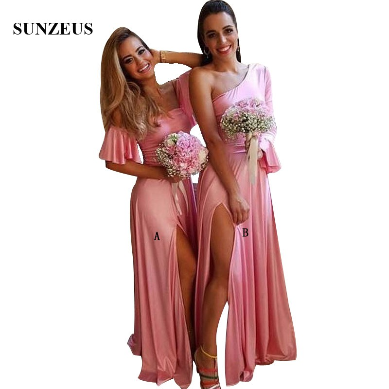Single One Long Sleeve Pink   Bridesmaid     Dresses   Simple Jersey Wedding Party Gowns For Young Women Side Slit bruidsmeisjes jurk