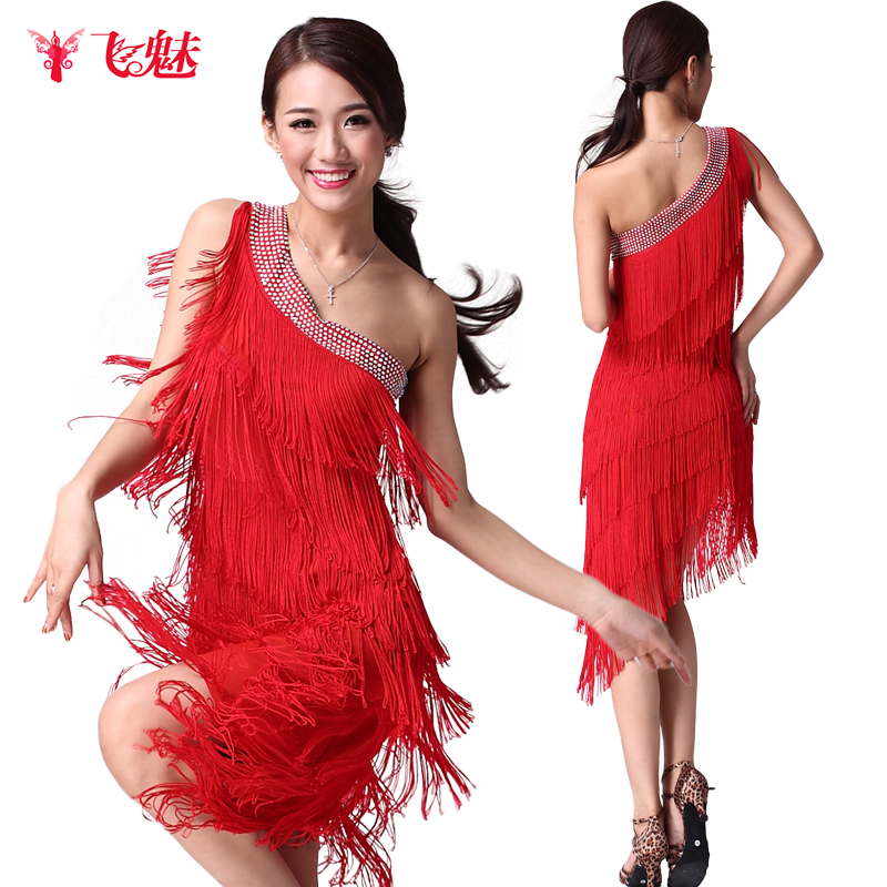 Tassels Rhinestone oblique shoulder Latin dance fringe dress Adult female Latin dance Performance clothing skirt