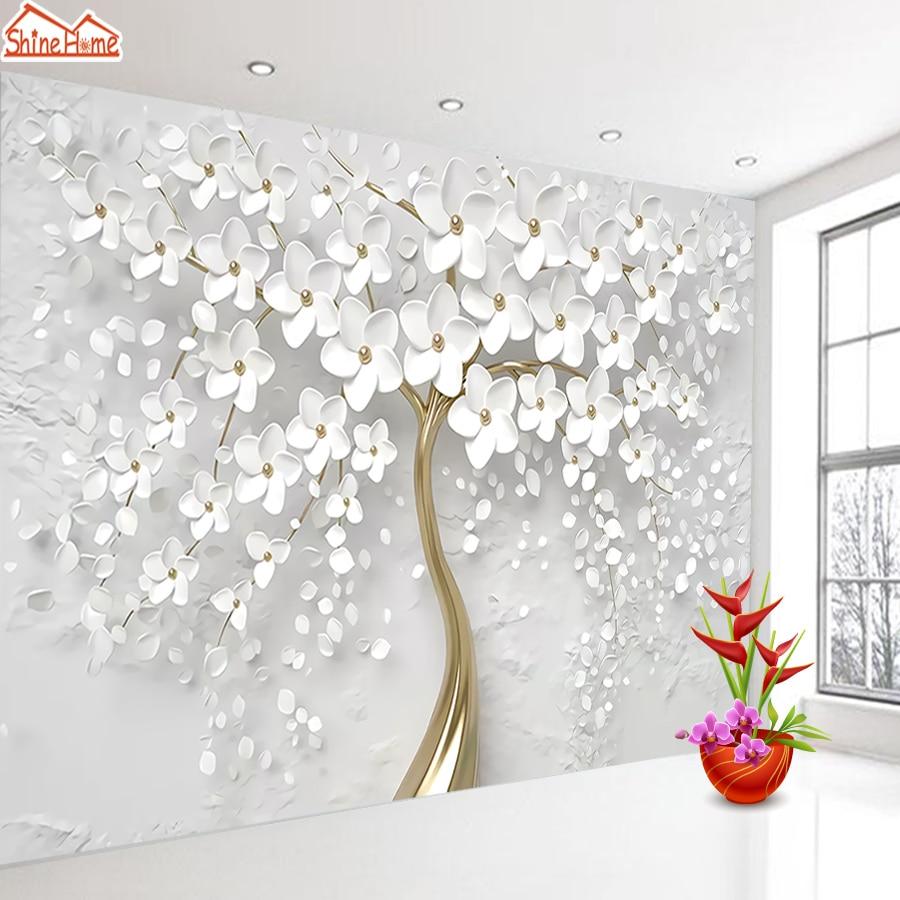 white flower tree mural wallpaper