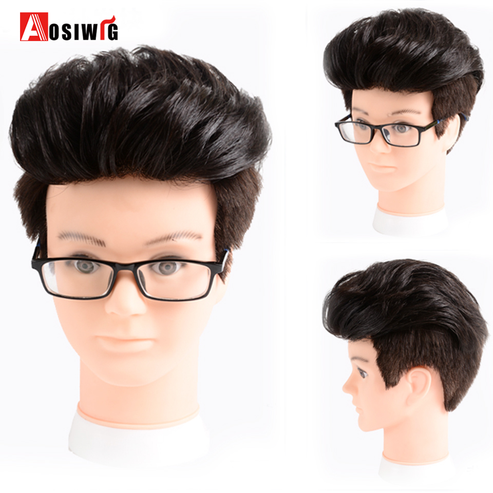 Hot Sale Men Short Handsome Black Synthetic Wig Men's Head Replacement Block Closure Clip In Hair Extensions Three Sizes