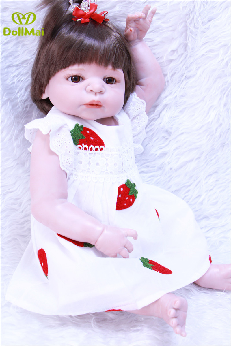 Lifelike Victoria girl Bebes reborn 2357cm full silicone reborn baby dolls like real hair rooted can bathe menina bonecas Lifelike Victoria girl Bebes reborn 2357cm full silicone reborn baby dolls like real hair rooted can bathe menina bonecas