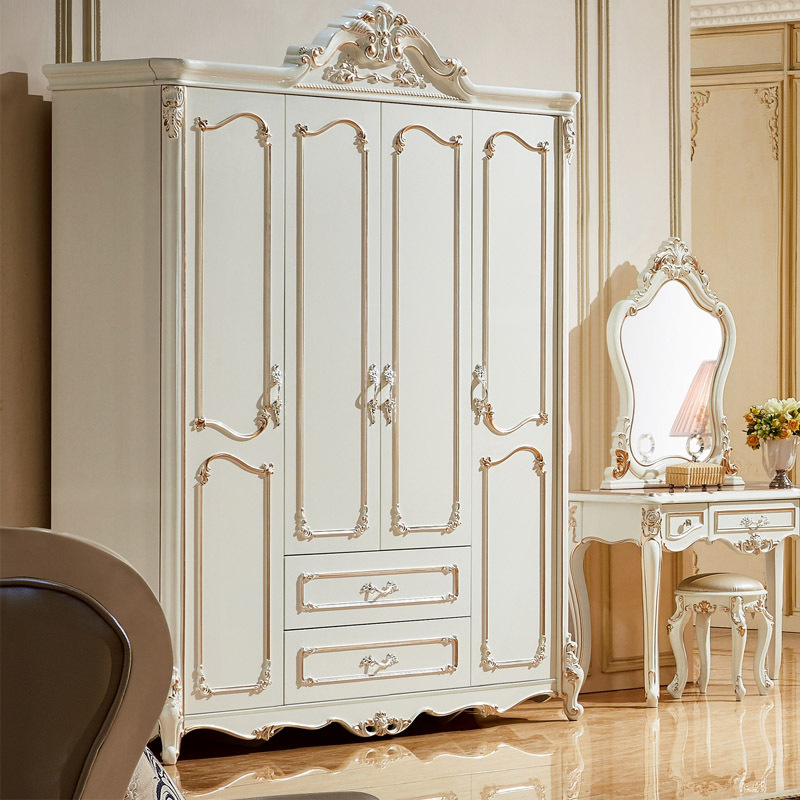 European Style Wardrobe,  Four Wardrobe, French White Style Wardrobe FurnitureEuropean Style Wardrobe,  Four Wardrobe, French White Style Wardrobe Furniture