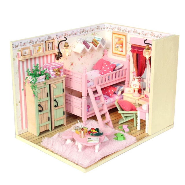 Nice 3D DIY Handmade Dolls House Princess Room With Furniture Doll Family Glass  Cover 2 LED Light