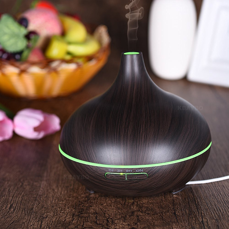 300 ml Aroma Ätherisches Öl Diffusor Ultraschall-luftbefeuchter mit Holzmaserung 7 Farbwechsel Led-leuchten für Office Home