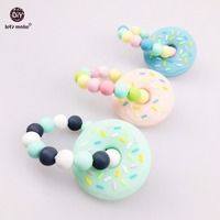 Donuts Silicone Bracelet 3pcs Can Chew Nursing Bracelet Baby Shower Gift Organic Silicone Teether Beads DIY