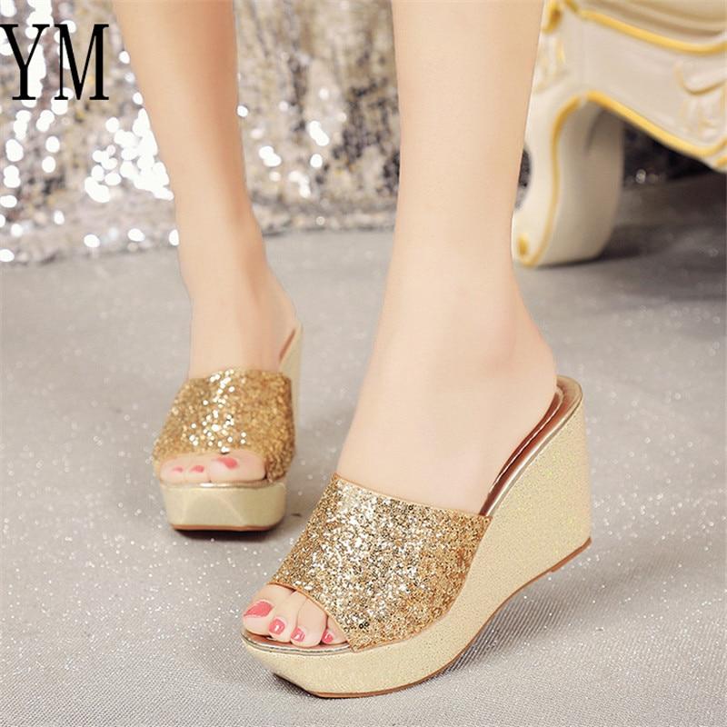 Mujer De Las 01 Toe Marca Mujeres oro Moda Negro Peep La Plataforma Zapatos primavera Tacones Zapatillas Cuña Sandalias Verano Bling plata annrdwWq