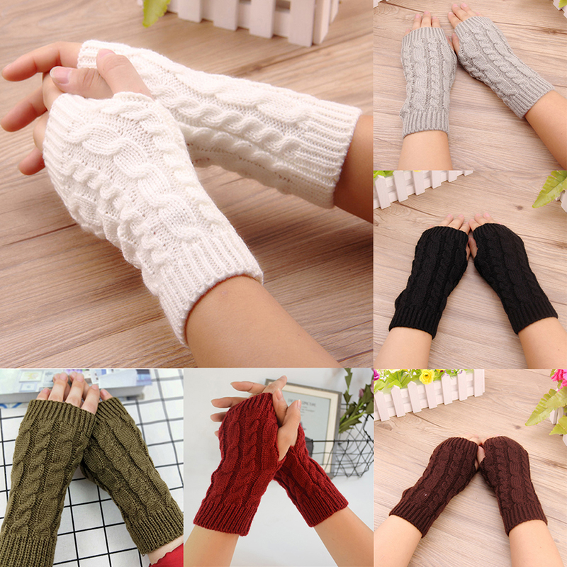 Women Winter Knitting Arm Gloves Stylish Hand Warmer Gloves Crochet Cotton Warm Fingerless Gloves Femme 7 Colors