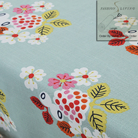 280cm Wide Multi Color Flowers Cotton Linen Blackout Drapery Blue Fabric Window Curtains Fabric Tablecloth Craft