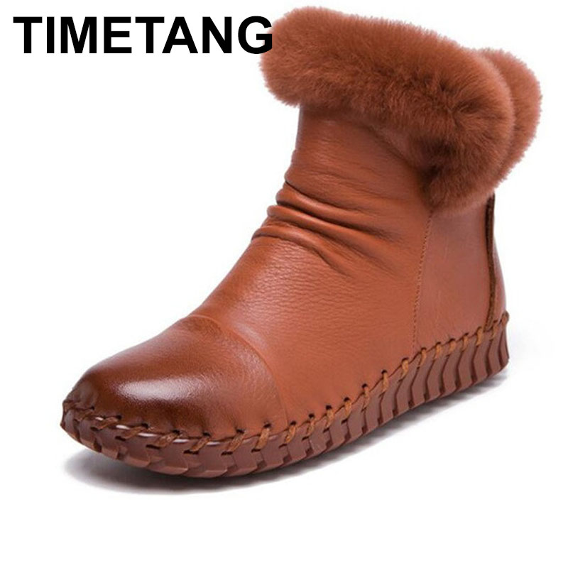 TIMETANG Handmade Women's Winter Boots Women Real Fur Winter Shoes Woman Genuine Leather Warm Ankle Snow Boots Mujer Chaussure