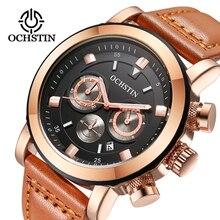 Мужские часы OCHSTIN Элитный бренд водостойкие спортивные наручные часы хронограф кварцевые Военная Униформа пояса из натуральной кож