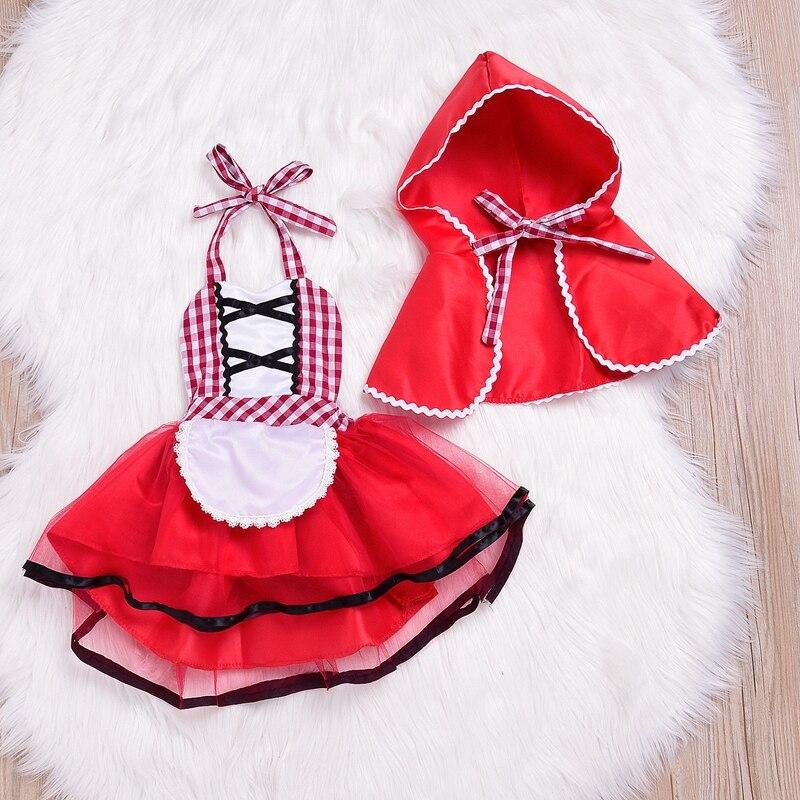 Recém-nascido cosplay bebê menina vermelho tutu vestido pouco vermelho equitação capa foto prop traje meninas vestido de festa + capa manto outfit