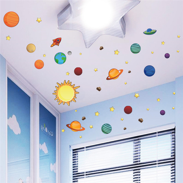 3D Solar System Wall Stickers For Kids Rooms Stars Outer Space Sky Wall  Decals Planets