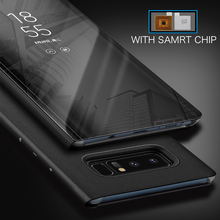 ФОТО  flip cover case for samsung galaxy s7 edg s8 s9 plus s9plus note 8 mirror case smart chip clear view touch stand cover funda