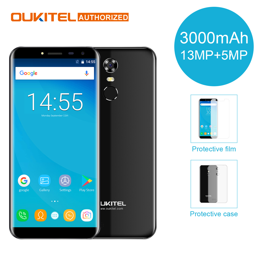 Oukitel C8 4G Mobile Phone 5.5'' 18:9 HD Screen 2GB RAM 16GB ROM Quad Core 13MP+5MP Android 7.0 3000mAh Touch ID Smart Cellphone