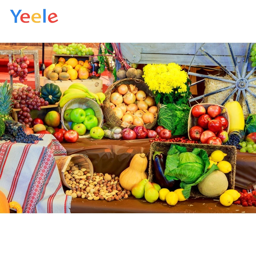 Yeele Fruits Vegetables Basket Harvest Portrait Kid Personalized Photographic Backdrops Photography Backgrounds For Photo Studio-in Background from Consumer Electronics
