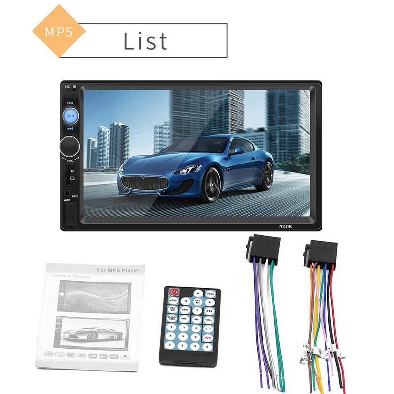 Universal 7 2 Din Car Radio MP5 Multimedia Player HD Touch Screen Audio Stereo Bluetooth USB
