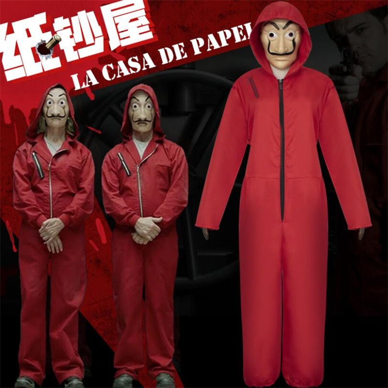 Salvador Dali La Casa De Papel Money Heist Red Jumpsuit Cosplay Halloween Costume Mask