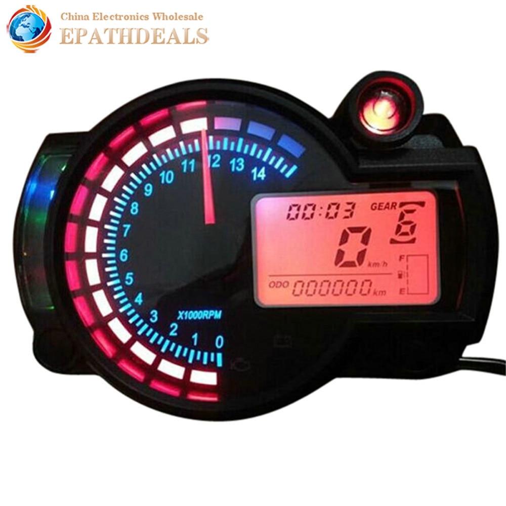 Digital Odometer Gauge : Adjustable motorcycle digital speedometer tachometer gauge