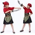 Бесплатная доставка детская одежда для девочек Хэллоуин маскарад красные полосы пункт пиратский костюм для девушки пиратский костюм