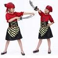 Envío gratis ropa infantil para niñas de Halloween mascarada rayas rojas párrafo traje de pirata para las niñas traje de pirata