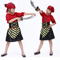 Free shipping children's clothing for girls Halloween masquerade red stripes paragraph pirate costume for girls pirate costume