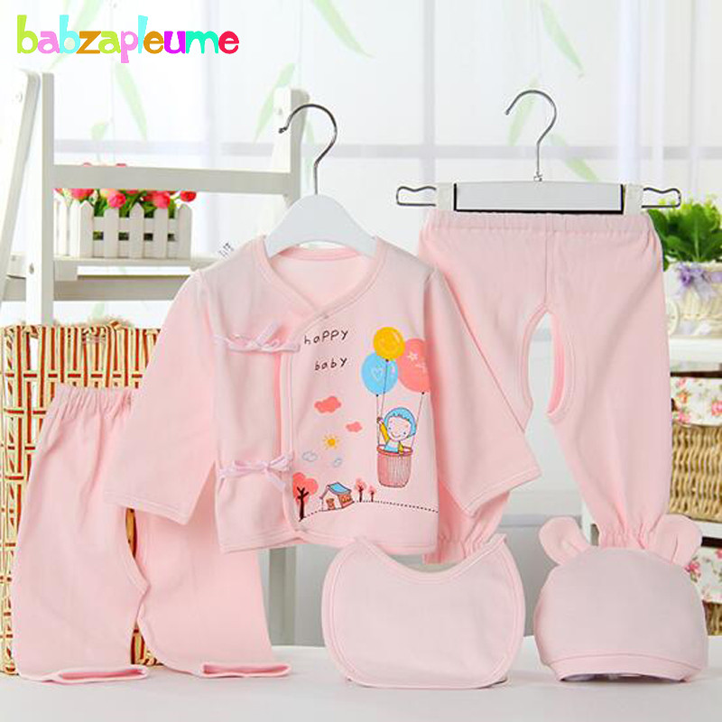 5Piece 0 3Months Spring Autumn Newborn Baby Outfits Boys Clothing Sets Cartoon Cute Cotton Underwear Infant