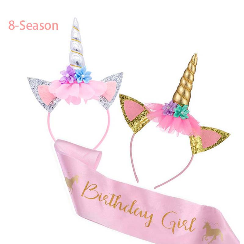 8 Season Unicorn Headband Decor Birthday Girl Sash Satin Silk Sash 1st Birthday PartySupplies Rainbow Unicornio Party Headbands in Party DIY Decorations from Home Garden