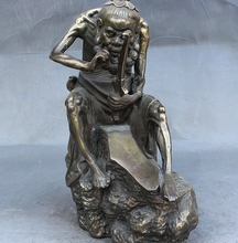 11″ Folk Old Chinese Bronze Word Blow Hair Broken Old man Sharpen knife Statue