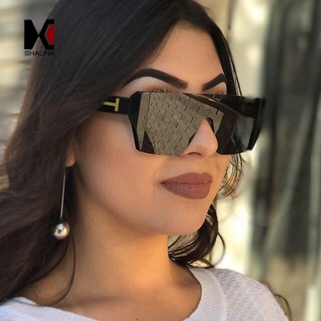 aa9209c3c6c4 SHAUNA Fashion Half Frame Women Square Sunglasses Brand Designer Men Red  Tinted Lens Glasses