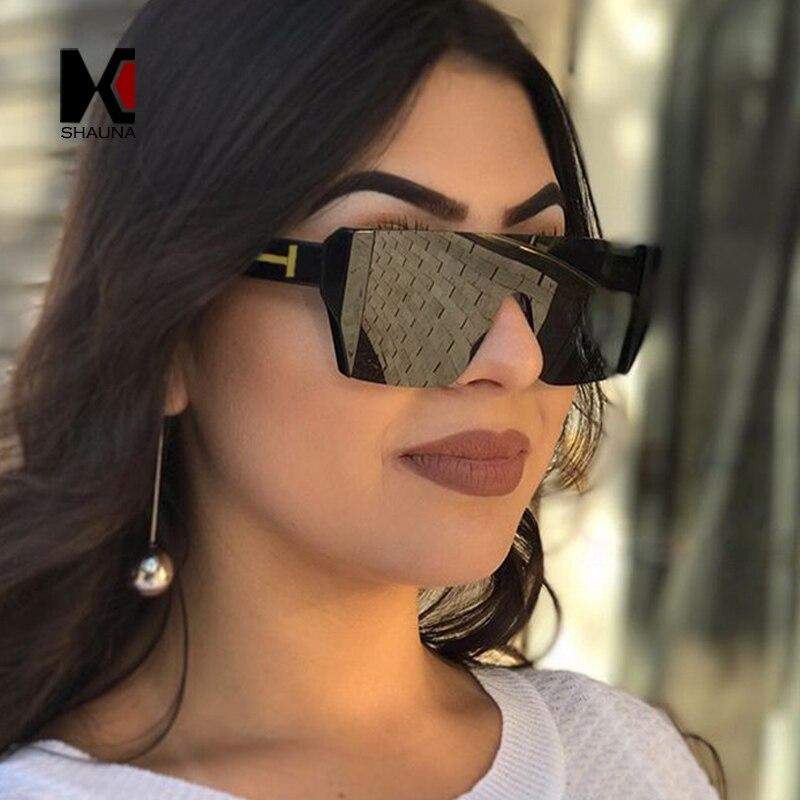SHAUNA Mode Halb Rahmen Frauen Quadrat Sonnenbrille Marke Designer Männer Rot Getönt Objektiv Gläser