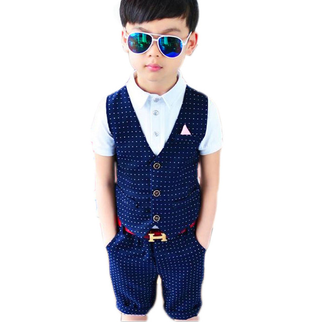 Boys Clothing Sets 2016 New Summer Formal Kids 2 Pieces Suit Korean Children Clothing Toddler Boy Set Fashion Party Suit 2-8Y