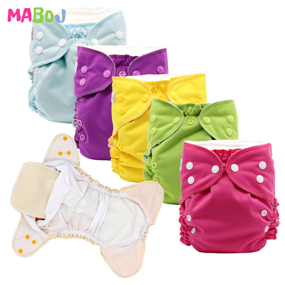 MABOJ Cloth Diaper Pocket Diapers One Size Baby Cloth Nappies Washable Reusable Waterproof Diapers For 6 To 33 Pounds Babies