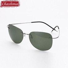 Chashma Fashion Brand Designer Sun Glasses Rimless Polarized Ultra Light Titanium gafas de sol Man Driving Glasses