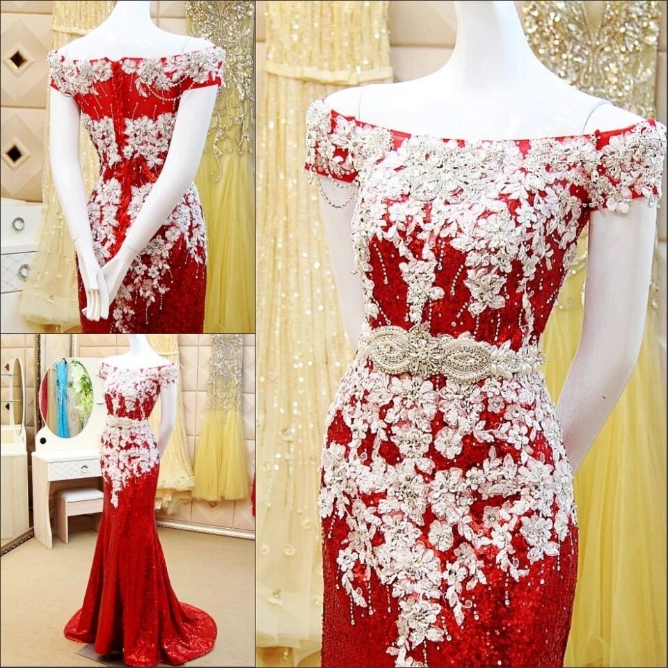Custom Made Real Photo Mermaid Sequin Tulle Lace Crystal Beaded Stones Sexy Luxury 2019 New Evening