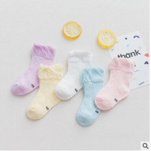 AJLONGER 5 Pairs/Lot Cotton Children Kids Socks for Girls Boys Spring Summer Wear Solid Color Fashion Sports Casual