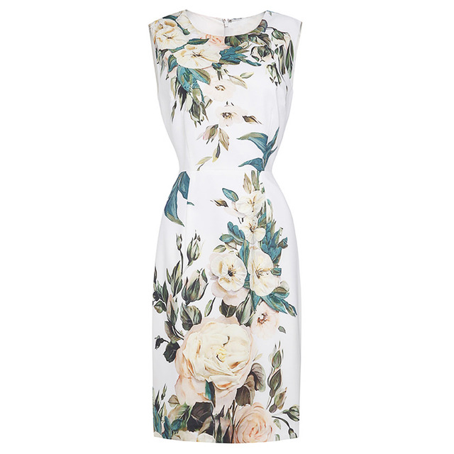 Pettigirl Floral Printed Women Dress Elegant Sleeveless Scoop Neck Slim  Knee-Length Straight Cocktail Party Midi Dresses